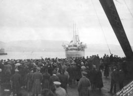 "[Spectators watch R.M.S. ""Monteagle"" departing with the Canadian Siberian Expeditionary..."