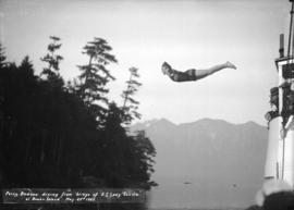 "Percy Dodson diving from bridge of S.S. ""Lady Cecilia"" at Bowen Island"