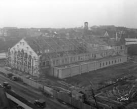[Partially constructed Seaforth Armories on Burrard Street near south end of Burrard Street Bridge]
