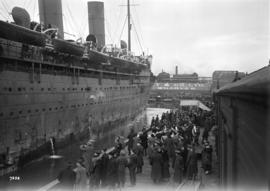 "Troops returning from overseas on the ""Empress of Asia"""