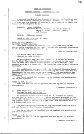 Special Council Meeting Minutes : Nov. 15, 1973
