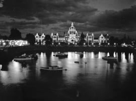 [View of] Parliament Building , illuminated [at night, Victoria, B.C.]