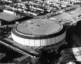 Pacific Coliseum : [aerial view of partially completed construction of Pacific Coliseum]