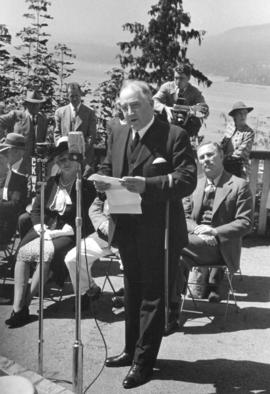 "[Major J.S. Matthews speaking at the unveiling of the walking beam of the S.S. ""Beaver""..."