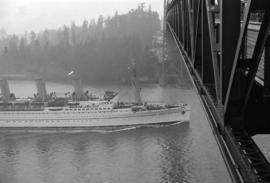 "[View from the Lions Gate Bridge of ""Empress of Canada""]"