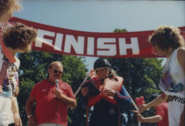 Award presentation at finish line