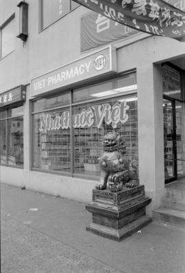 Storefront of a Viet Pharmacy, a new business in Vancouver Chinatown