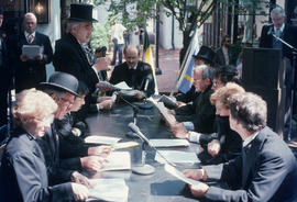 Reenactment of Vancouver's first City Council meeting at 12 Water Street