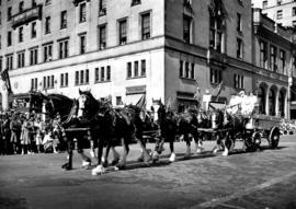 Crystal Dairy horse team and wagon in 1947 P.N.E. Opening Day Parade