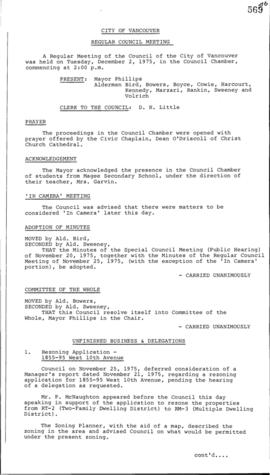 Council Meeting Minutes : Dec. 2, 1975