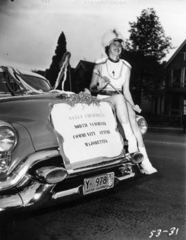 Sally Churchill's North Vancouver Community Centre Majorettes car in 1953 P.N.E. Opening Day Parade