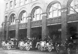 [Firemen and engines in front of Fire Hall No. 1 - Cordova Street and Gore Avenue]