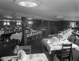 [Interior view of the dining room on a ship, possibly the S.S. Coquitlam]