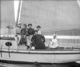[Unidentified group in a sailboat]
