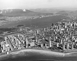 [Aerial view from English Bay looking north]