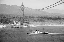 [A Union Steamship vessel under the Lions Gate Bridge under construction]