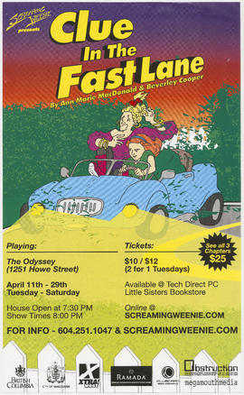 Screaming Weenie presents Clue in the Fast Lane by Ann Marie MacDonald and Beverly Cooper