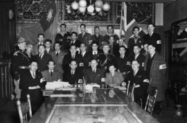 Members of the Chinatown Air Raid Patrol at the Chinese Benevolent Association