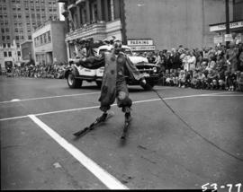 Clown on skis in 1953 P.N.E. Opening Day Parade