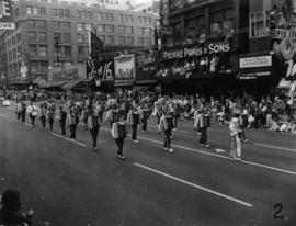 Accordion marching band in 1955 P.N.E. Opening Day Parade