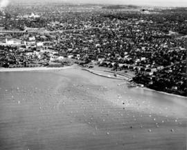 [Aerial view of Kitsilano looking east over Kitsilano Beach]