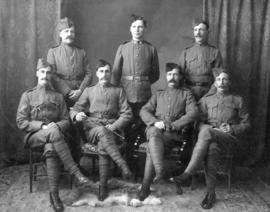 [Studio portrait of the Westminster detachment to the Boer War, Comp. A, 2nd Special Battalian, R...