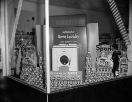 [Spork canned meat and Bendix washing machine display]