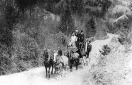 [A stagecoach on the Cariboo Road]