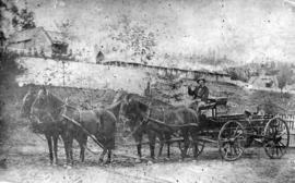 [Governor Seymour's coach at the foot of the hill on Columbia Street]