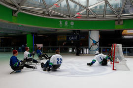 Sledge hockey demonstration at Vancouver's 24 hour Paralympic Event in British Columbia