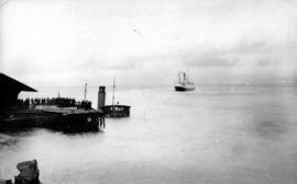 "[The sinking of the ""Cheslakee"" at the Van Anda wharf]"