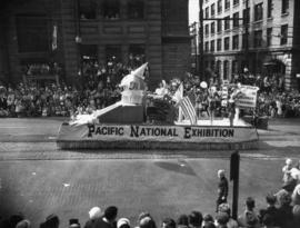 Pacific National Exhibition float in 1952 P.N.E opening day parade