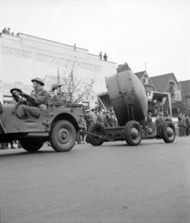 [Military vehicles passing the Art Gallery during a parade]