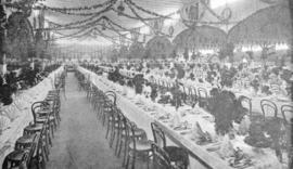 Tables set for banquet, Strathcona Hall