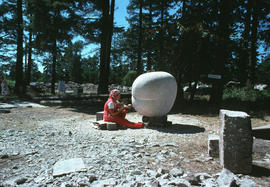 Olga Jancic working on her sculpture