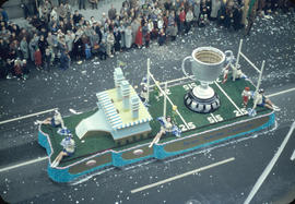 43rd Grey Cup Parade, on Granville Street, Pacific National Exhibition [PNE] Grey Cup float and s...