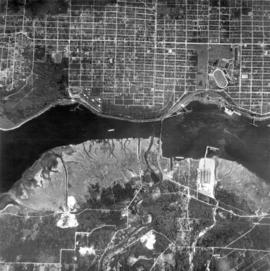 [Aerial view of Burrard Inlet, Hastings-Sunrise, Burnaby and the District of North Vancouver]
