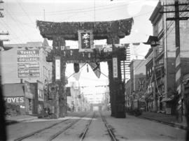 [Japanese arch on Hastings Street, between Hamilton and Homer Streets, erected for visit of Duke ...