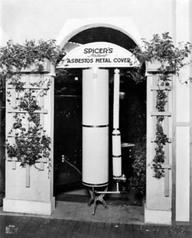Display of Spicer's asbestos metal cover for hot water heaters