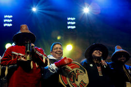Kwantlen First Nations on stage at Maple Ridge's Community Celebration in British Columbia