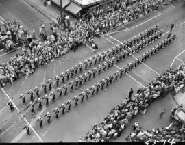 Navy men marching in 1953 P.N.E. Opening Day Parade