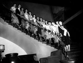 Miss P.N.E. contestants lined up for group photograph on staircase