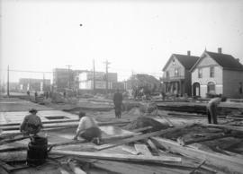 [Construction at 800 block Hastings St. E.]