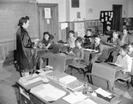 [Miss Laura teaching at] Nanaimo Indian School