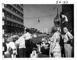 Crowd watching 1956 P.N.E. Opening Day Parade