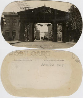 Lumberman's Arch [at Pender and Hamilton Streets, erected for Duke of Connaught's visit]