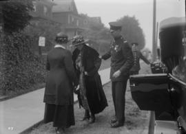 Lord Byng visit - a woman on the sidewalk