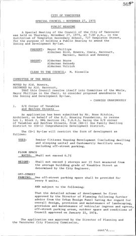 Special Council Meeting Minutes : Nov. 27, 1975