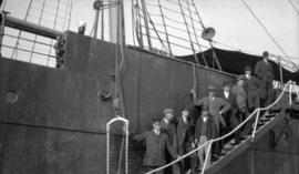 "[ ""Komagata Maru"" with officials on ladder]"