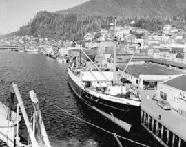 "[""Chilcotin"" at dock with Ketchikan buildings in background]"